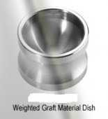 Weighted graft material dish